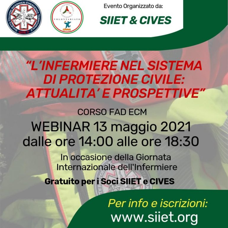 L'infermiere nel sistema di Protezione Civile: attualità e prospettive- Evento Fad Ecm