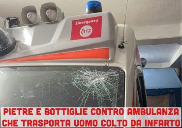 Pietre e bottiglie contro ambulanza in codice rosso. Ferito l'autista e devastato il mezzo