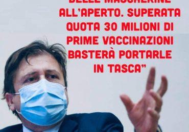 """Sileri:""""Stop alla mascherina all'aperto superate 30 milioni di prime dosi di vaccino"""" 2"""