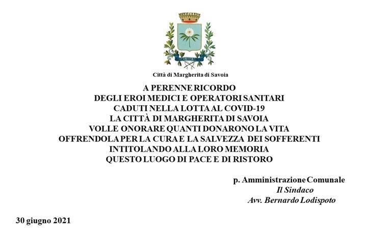 """Monumento dedicato ai """"medici e al personale sanitario"""" colpito dal covid a Margherita di Savoia: dimenticati gli infermieri"""