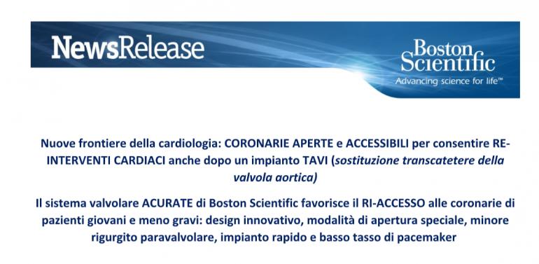 BOSTON SCIENTIFIC - RI-ACCESSO ALLE CORONARIE dopo un impianto TAVI (Sostituzione transcatetere della valvola aortica )