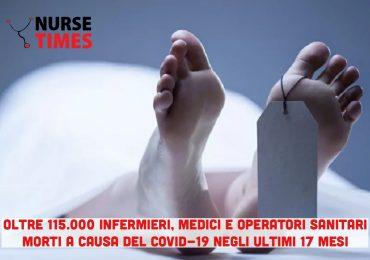 Covid-19: 115.000 infermieri, medici e operatori sanitari deceduti negli ultimi 17 mesi